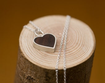 Heart Necklace - Wooden Heart Pendant - Silver Necklace and Rose Wood Heart Charm - Free Shipping