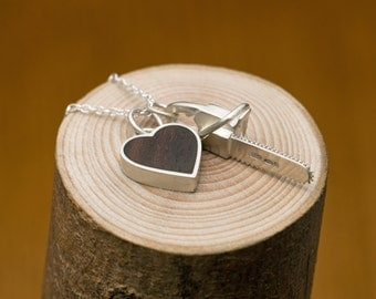 Charm Necklace - Heart Necklace with Chainsaw - Wooden Heart Necklace set in Sterling Silver -FREE SHIPPING