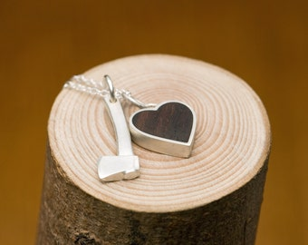 Hatchet Wooden Heart Combo Necklace - Silver Axe and Rose Wood Silver Heart on Fine Chain - Free Shipping