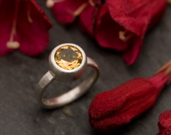 Citrine Ring - Yellow Gemstone Ring - Citrine Silver Ring set in Satin Finished Sterling Silver - Citrine Ring Made to Order - FREE SHIPPING