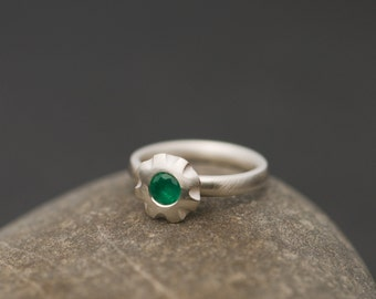 Emerald Ring - Solitaire Emerald Ring - Green Gemstone Ring - Emerald Engagement Ring - Emerald Stacking Ring - Free Shipping