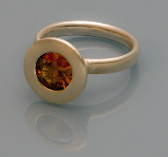 zircon set in satin finished silver ring