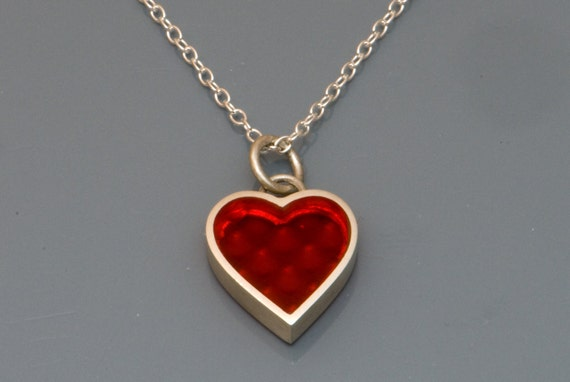 Heart pendant in sterling silver on a fine Silver Chain- Free Shipping
