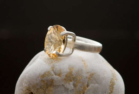 Citrine Ring - Large Citrine Silver Ring - Citrine Cocktail Ring - Orange Gemstone Ring - Made to Order - FREE SHIPPING
