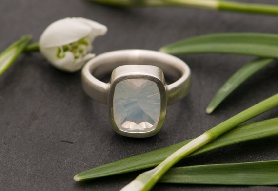 Moonstone Ring, Stone Set In Sterling Silver, Size 6.75