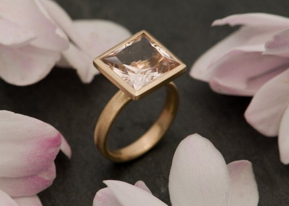 Morganite Ring, Beautiful Pale Pink Beryl Set in Satin Finished Recycled 14ct Yellow Gold Size 6.25 - Free Shipping
