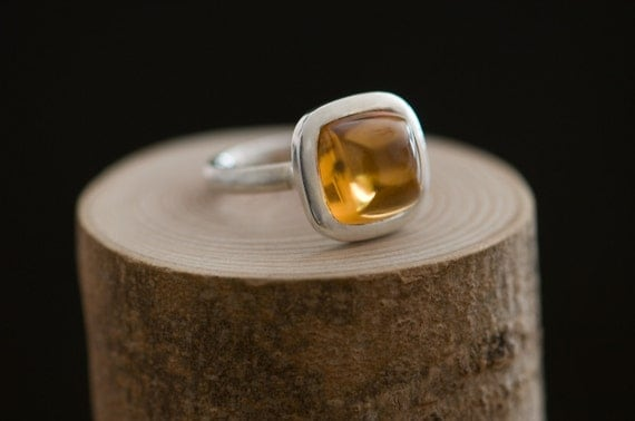 Citrine Ring - Unusual Shape Cabochon Stone Set in Sterling Silver - Size 7