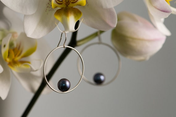 Silver Hoop Earrings - Black Pearl Earrings - Small Hoop Earrings - Pearl Dangle Drop Earrings - Sterling Silver - Free Shipping