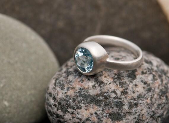 Blue Topaz Ring - Blue Topaz Engagement Ring - Blue Topaz Ring - Blue Gemstone Solitaire Ring  - Made to Order - FREE SHIPPING