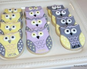 Baby Owls in Lavender, Yellow and Gray Hand Decorated Sugar Cookies for Baby Shower, New Baby Gift