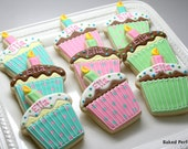 Sweet Cupcake Hand Decorated Sugar Cookies in Pink, Aqua, and green in Vanilla and Chocolate Customized for Birthdays and Parties