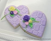 Love in Bloom Quilted Heart and Rose Cookies for Bridal Shower, Birthday, Weddings, Special Event Favors