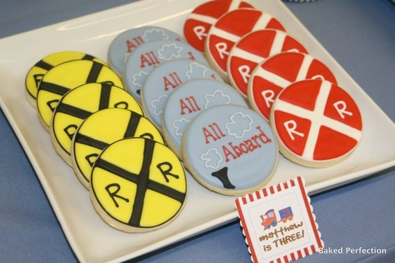 Train Theme Hand Decorated Sugar Cookies//Train Theme Dessert Buffet Cookies for Birthday Party and Favors