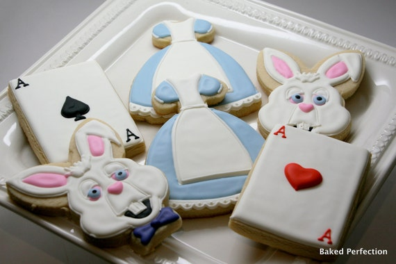 Alice in Wonderland Inspired Hand Decorated Cookies for Birthday, Wedding and Shower Favors with Chester Cat, Alice, and White Rabbit