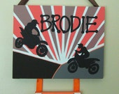 Orange and Brown Dirt Bikes Personalized Painting 8x10 and 5x5
