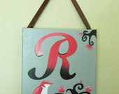 Bird with Cherry Blossoms Personalized Painting 8x10