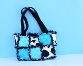 Cow print and teal rag quilt purse by karenskreations2011