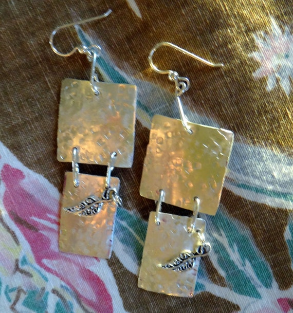 Sterling silver dangle earrings/squares with leaves