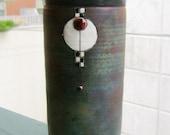 20% Off- Handmade RAKU Vase Art Deco details