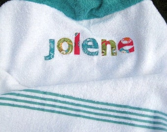 Girls Scrappy Personalized Hooded Beach Towel