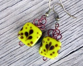 Yellow Brown Wire Earrings Fun Glass Beads Jewelry