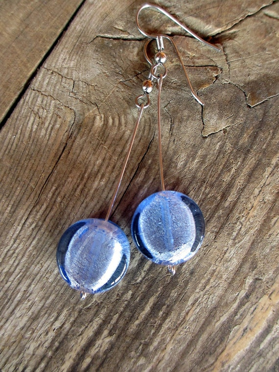 Periwinkle Drop Earrings - Silver Wire with Glass Coin Beads