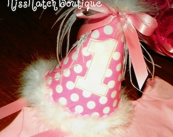 Girl Boutique Birthday Hat Pink Dots First Second Third Sewn