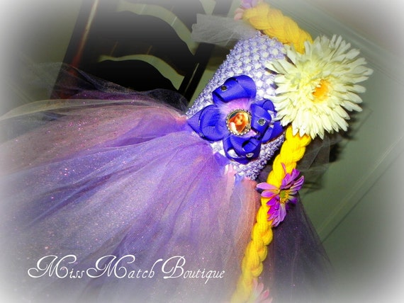 Tangled Rapunzel Tulle tutu dress with boutique bottle cap bow on front Halloween birthday costume