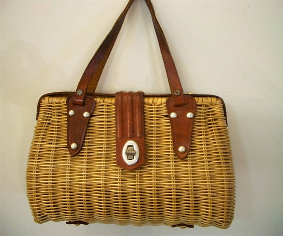 Vintage Woven Wicker Basket Style Purse 70s Hong Kong with Leather Strap & Details