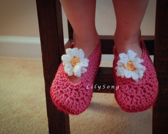 LilySong BELLE SLIPPERS Crochet Pattern in 4 Sizes (2-9 Years) Double-Thick Sole
