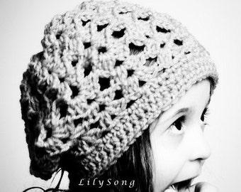 LilySong LOLA SLOUCHY BERET Crochet Pattern  (in 5 sizes)
