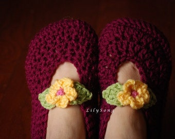 LilySong BELLE SLIPPERS for Women Crochet Pattern in 3 Sizes (5-10) Double-Thick Sole