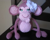 Pink Crochet Baby Monkey w/ Flower, vegan plush toy doll amigurumi stuffed animal gift MADE TO ORDER, many colors available, brown, tan