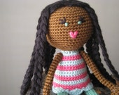 Crochet African American Plush Doll Vegan Black Braids Green Pink Purple Stuffed Toy Baby Girl Gift, MADE TO ORDER (other colors available)