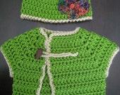 Baby Sweater Top & Hat Set shrug bolero beanie boy girl toddler kids children's Asian Shirt Blouse Jacket green Fall Winter MADE TO ORDER