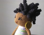 Crochet African Princess and the Pea Doll in Spring Colors Plush Dreads Locks Natural Black Hair Stuffed Toy Baby Girl Gift MADE TO ORDER