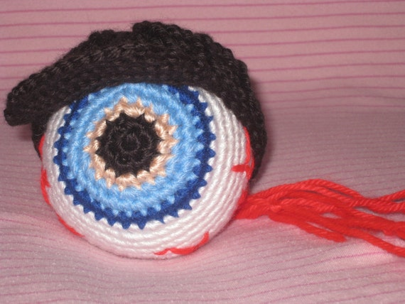 "Crochet ""Eyeball Kid"" from the Tom Waits song vegan blue red white black hat music memorabilia eye ball plush doll stuffed toy MADE TO ORDER"