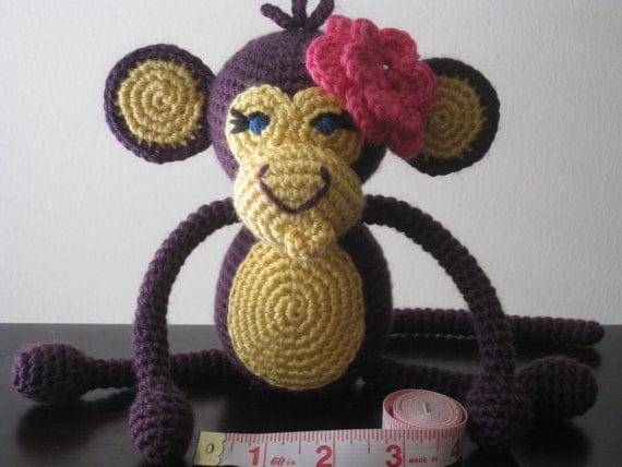 Girly Crochet Baby Monkey Vegan Purple Yellow Pink plush toy doll amigurumi stuffed animal kids children baby girl gift MADE TO ORDER