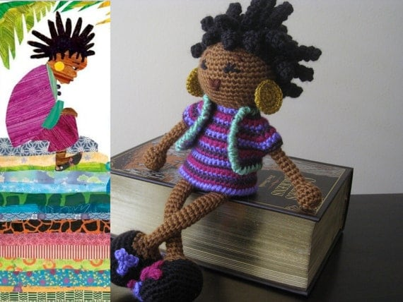 Crochet African Princess and the Pea Doll Plush Vegan Dreads Black Hair Purple Violet Magenta Stuffed Toy Baby Girl Gift MADE TO ORDER