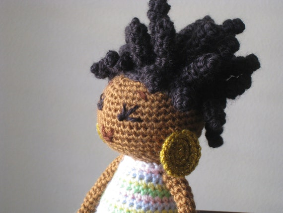 Crochet Hair On Dolls : Crochet African Princess and the Pea Doll in Spring Colors Plush ...