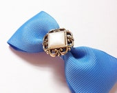 Blue Bow with Vintage Inspired Embelishment Center Alligator Clip