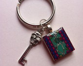 Keychain- Skull Image with Skull Key Charm- Fathers Day Gift- Key Chain