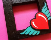 Wood Frame- Self Standing -Hand Painted Frame With Heart and Wings- Black Frame