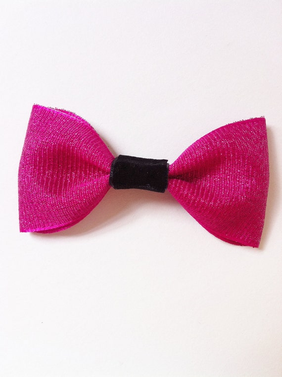 Pink Pin Up Bow with Black Center Alligator Clip