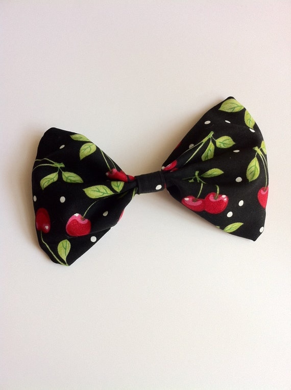 Cherry Fabric- Big Hair Bow-Black Bow with Cherries