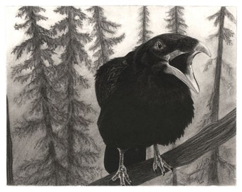 Raven print titled 5AM Wake-Up Call by Alaskan Artist Kim Sherry