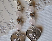 Rose Quartz and Angel Heart Earrings