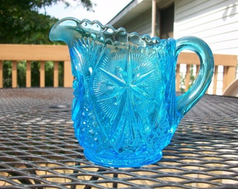 Vintage Blue Cut Glass pitcher/Creamer