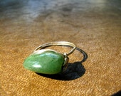 SALE - Sterling Silver Wrap Ring with Green Natural Stone, Size 9