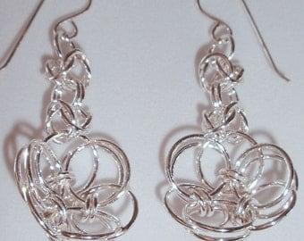 Chain Maille Helm Flower Earrings